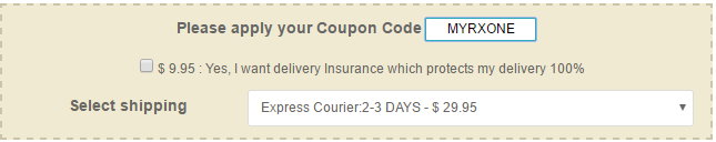 enter coupone code at cart page